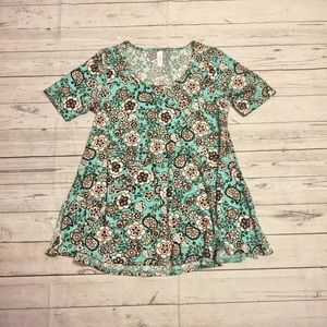Black & teal floral print LulaRoe Perfect Tee